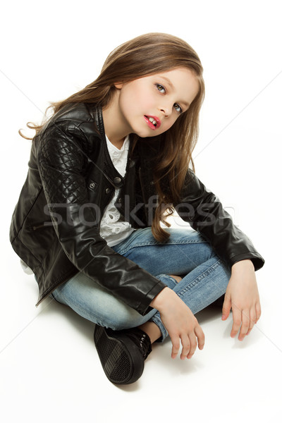 Fille petite fille mode veste jeans Photo stock © svetography