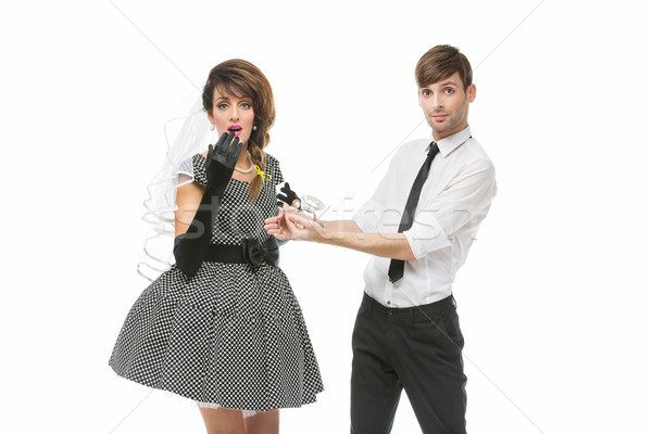 Boy proposing to girl with huge ring Stock photo © svetography