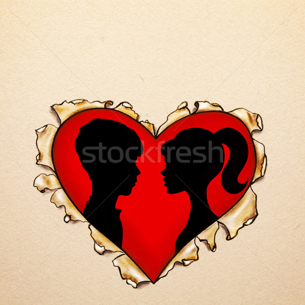 Paper ripped heart with silhouettes Stock photo © svetography
