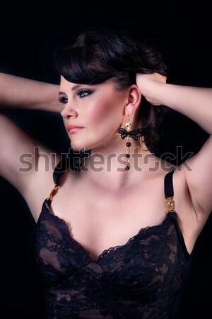 Bella buio trucco capelli Foto d'archivio © svetography
