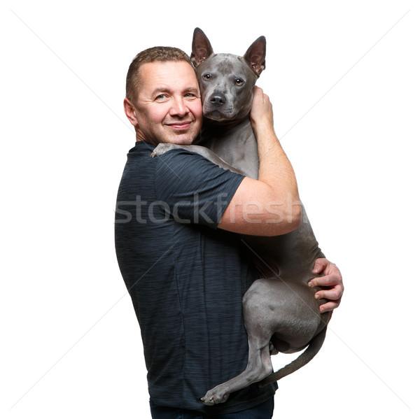 Férfi tart thai kutya erős gyönyörű Stock fotó © svetography