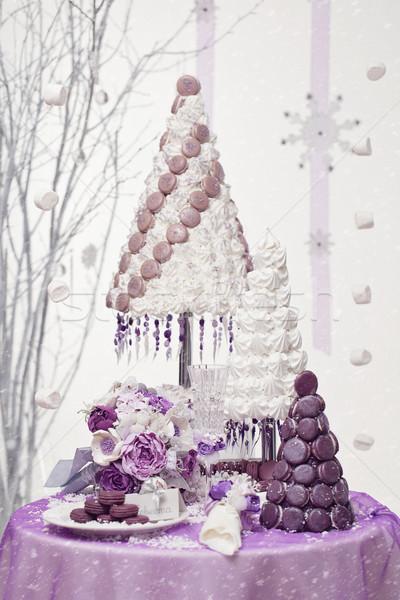 три macaron свадьба торты красивой набор Сток-фото © svetography