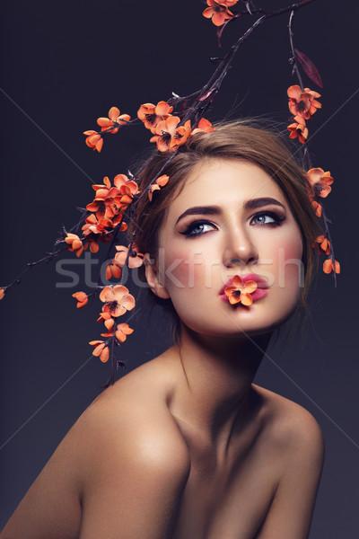 красивая девушка сакура филиала красивой макияж Сток-фото © svetography