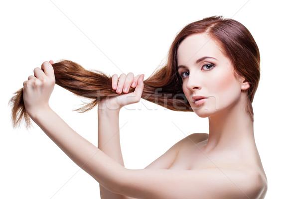 Güzel kız uzun güçlü saç güzel genç kadın Stok fotoğraf © svetography