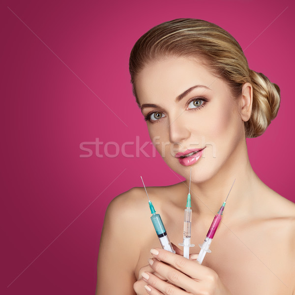 beautiful girl getting beauty injections Stock photo © svetography