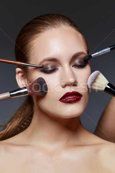 beautiful girl with dark makeup Stock photo © svetography