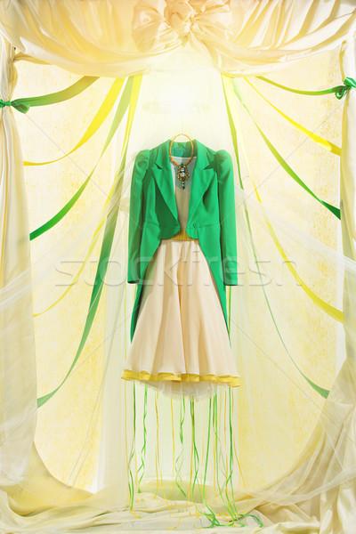 代替案 ウェディングドレス 美しい 緑 ファッショナブル 絞首刑 ストックフォト © svetography