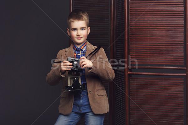 Yakışıklı Retro kamera gömlek ceket Stok fotoğraf © svetography