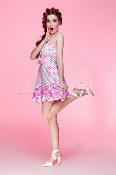 Beautiful girl in dress with braided hair Stock photo © svetography