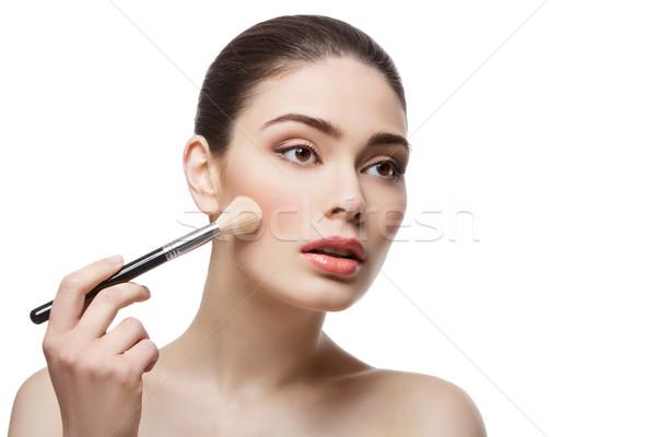 Güzel kız fırçalamak güzel genç kadın Stok fotoğraf © svetography