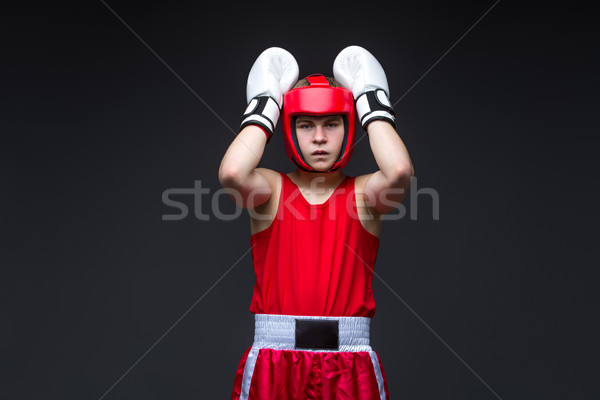Photo stock: Jeunes · boxeur · rouge · forme · adolescent · casque
