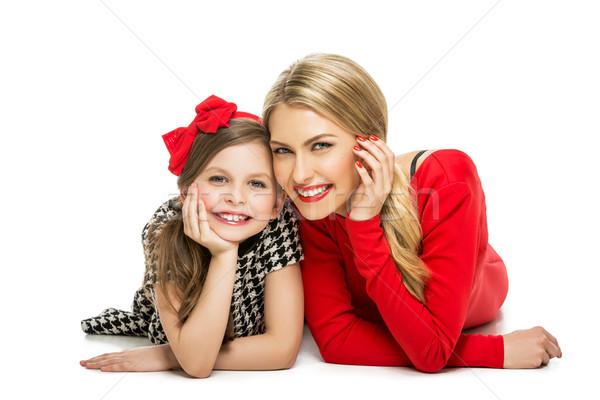 Piękna matka córka szczęśliwy młoda kobieta blond Zdjęcia stock © svetography