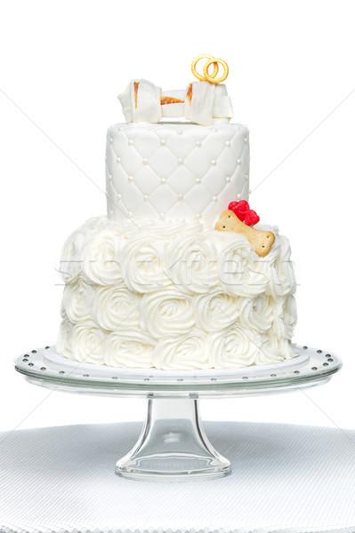 cake with bone for dog wedding Stock photo © svetography