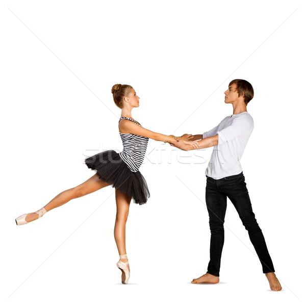 Stockfoto: Mooie · ballet · paar · dansen · witte