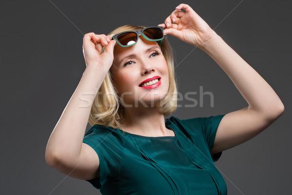 Güzel bir kadın transformatör gözlük güzel orta yaşlı kadın kırmızı dudaklar Stok fotoğraf © svetography