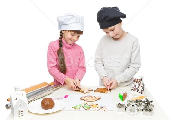 çocuklar Noel kurabiye güzel erkek Stok fotoğraf © svetography
