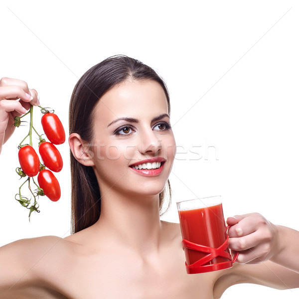 girl with cherry tomatoes and juice  Stock photo © svetography