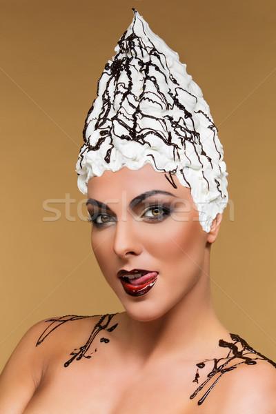 Chocolate vanilla meringues hat Stock photo © svetography