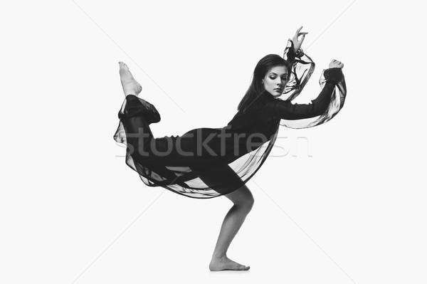 Gyönyörű modern táncos lány fiatal nő fekete Stock fotó © svetography