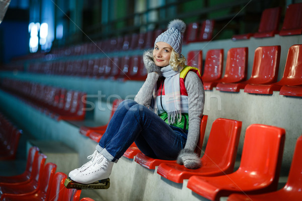 Beautiful girl in winter clothes and skates Stock photo © svetography