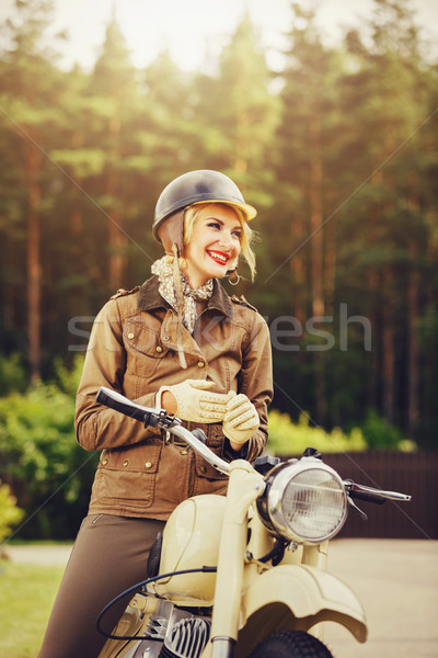 beautiful girl on retro motorbike Stock photo © svetography