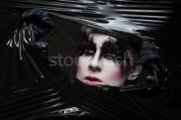 Lány toll szempilla közelkép fiatal nő tollak Stock fotó © svetography