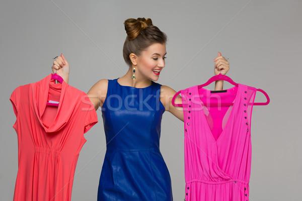 Gelukkig meisje jurken mooie gelukkig vrouw Stockfoto © svetography