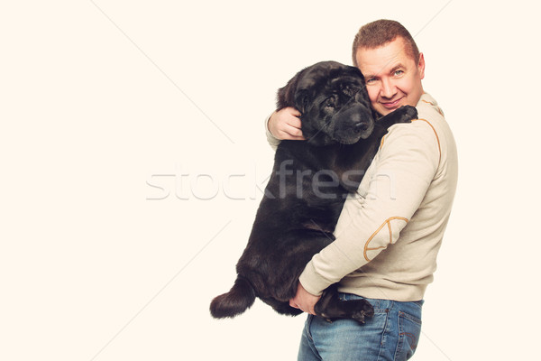 Man with sharpei dog Stock photo © svetography