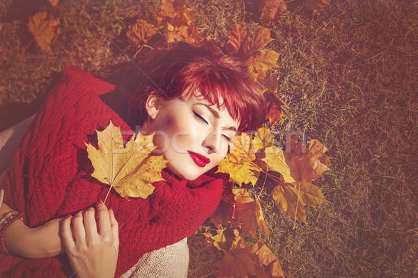 少女 秋 カエデの葉 美しい 若い女性 ストックフォト © svetography