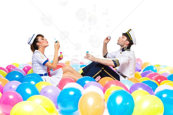 Jongen meisje zeepbellen knappe man mooie Stockfoto © svetography
