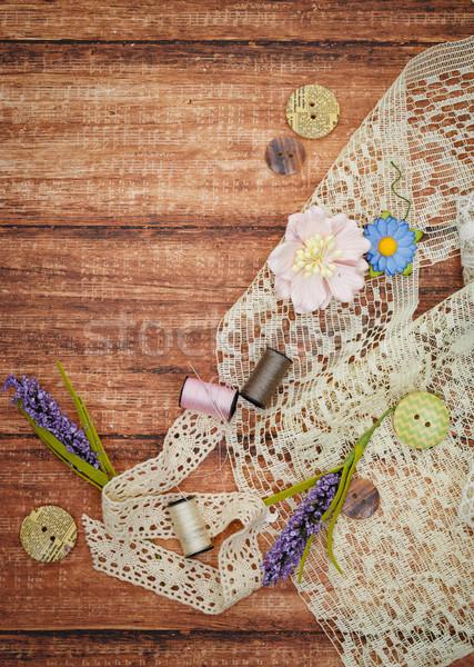Csipke fonál fából készült darab szövet tekercs Stock fotó © svetography