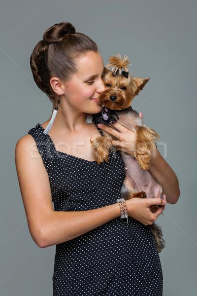 Foto stock: Menina · cão · belo · jovem · vestir