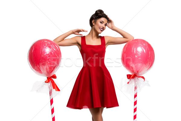 Nina vestido rojo enorme hermosa dos Foto stock © svetography