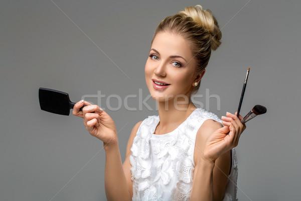 Güzel kız makyaj güzel sarışın genç kadın Stok fotoğraf © svetography