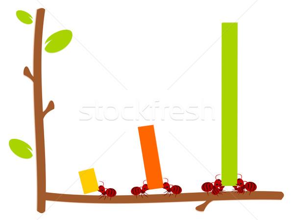Piros hangyák grafikon csapatmunka illusztráció erő Stock fotó © sweetcrisis