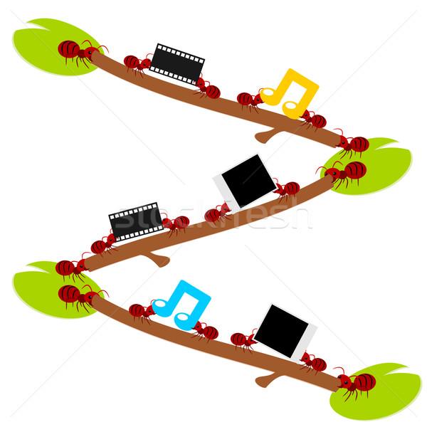 Vermelho formigas trabalho duro diversão trabalho em equipe ilustração Foto stock © sweetcrisis