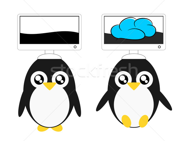 Cartoon penguin and computer cloud illustration Stock photo © sweetcrisis
