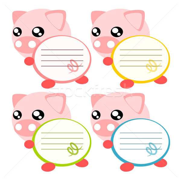 Cartoon porc mémo illustration note cute Photo stock © sweetcrisis