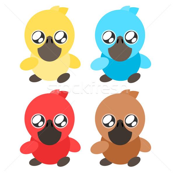 Kacsa ikon illusztráció baba színes rajz Stock fotó © sweetcrisis