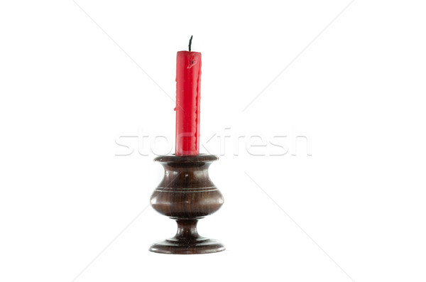 red candle wood candlestick Stock photo © sweetcrisis