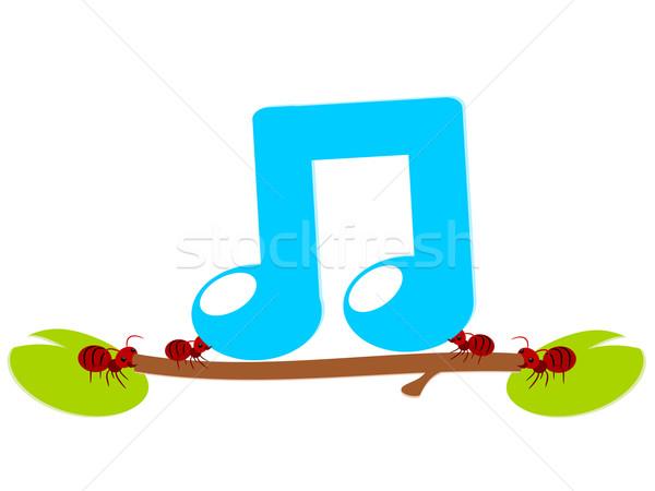 Vermelho formigas música trabalhar ilustração trabalho em equipe Foto stock © sweetcrisis