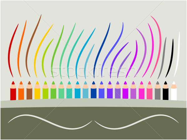 Színes ceruza zsírkréták illustrator rajz absztrakt Stock fotó © sweetcrisis