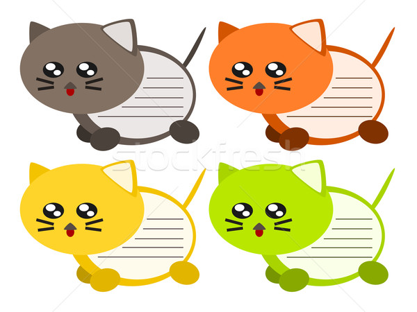 Cartoon chat mémo illustration note cute Photo stock © sweetcrisis