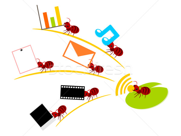Red ants wireless lan teamwork illustration Stock photo © sweetcrisis