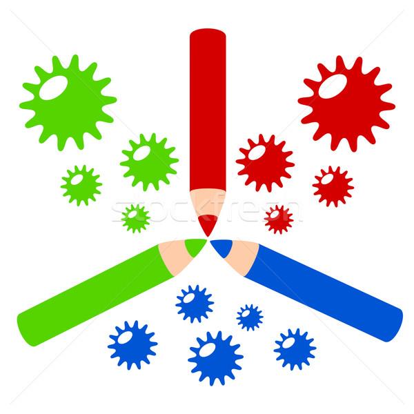 Szín profil színesceruza színes illusztráció Stock fotó © sweetcrisis