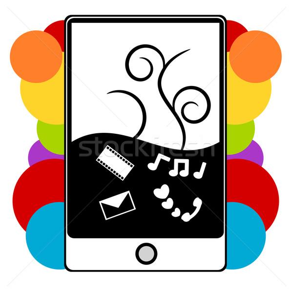 Pda telefoon illustratie multimedia mobiele grappig Stockfoto © sweetcrisis