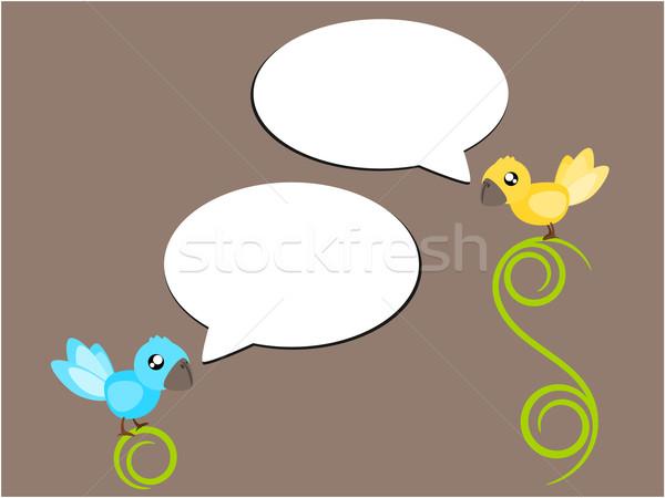 Bird talk illustration Stock photo © sweetcrisis