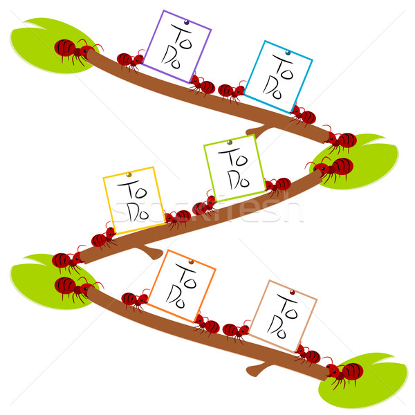 Red ants hard to do list teamwork illustration Stock photo © sweetcrisis