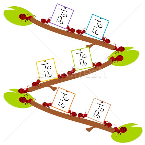 Rood mieren to do list teamwerk illustratie macht Stockfoto © sweetcrisis