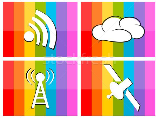 Wifi nube satélite colorido ilustración tecnología Foto stock © sweetcrisis